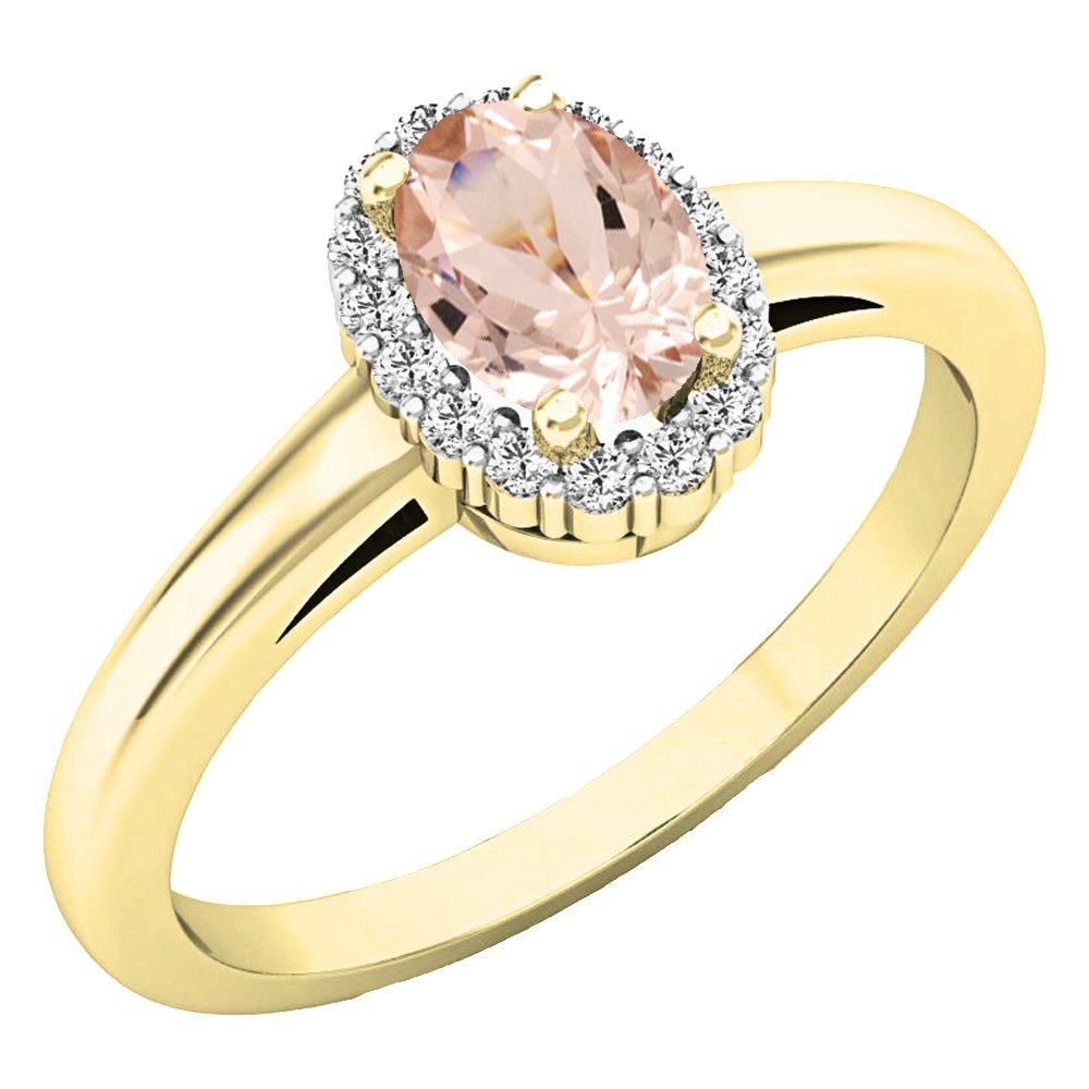 2b376046d9f 10 K Or jaune ovale 6 x 4 mm pierre précieuse et diamant rond Blanc pour  femme mariée Halo Bague de fiançailles  Amazon.fr  Bijoux