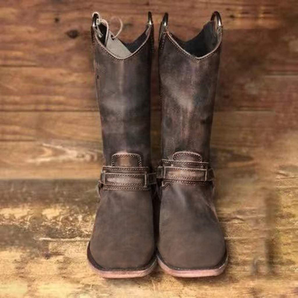 Miuye yuren Vintage Modern Western Cowboy Distressed Boot with Pull-Up Tabs Cowboy Boots Closed Toe Shoes