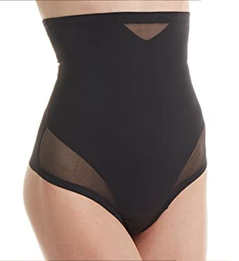 cbd684086 Miraclesuit Shapewear 2778 Women s Sexy Sheer Black High Waist Thong at  Amazon Women s Clothing store