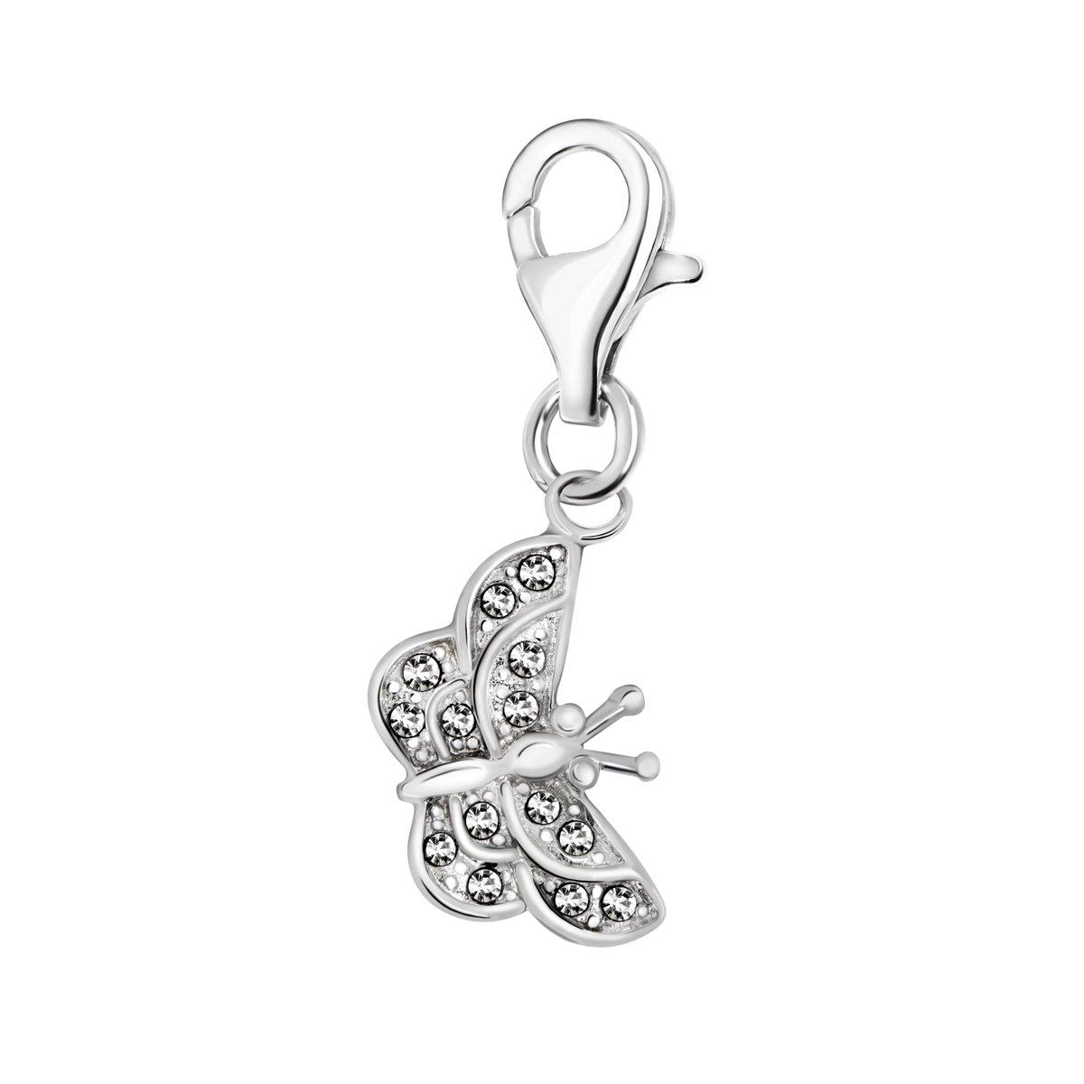 Quiges Charm Pendentif Perle avec Fermoir Femme Argent 925 Papillon en Oxyde de Zirconium Blanc