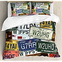 Ambesonne Vintage Queen Size Duvet Cover Set, Original Retro Style License Plates Personalized Creative Travel Vacation, Decorative 3 Piece Bedding Set with 2 Pillow Shams, Green Blue Yellow