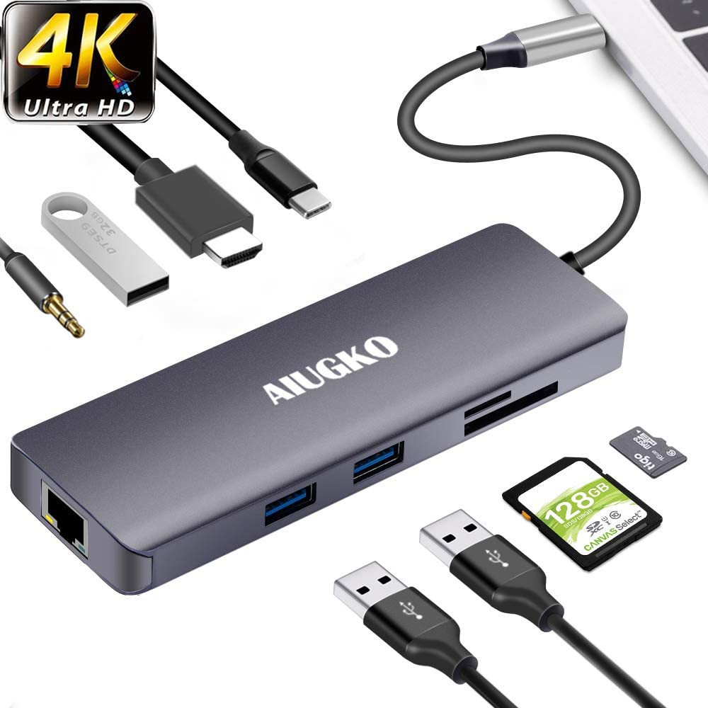 Aiugko USB C Hub 9-in-1 USB C Adapter Hub to Ethernet HDMI Type C Hub Data/PD Charge 3USB 3.0 SD/TF Card Reader Audio/Mic Space Grey USB C Adapter for Mac/Mac Pro USB C Devices