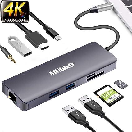 USB C Hub 9-in-1 Type C to HDMI VGA USB-C PD 2 USB 3.0 Port Card Reader Adapter