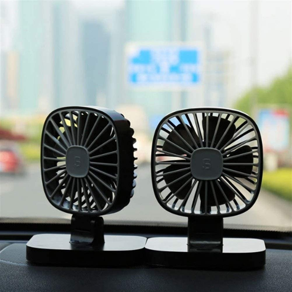 Air Cooler USB 12V Portable Car Fan Air Conditioning Cooler Desktop Mini Automotive Stand Ventilator Refrigeration Color : Black, Size : Double Fans