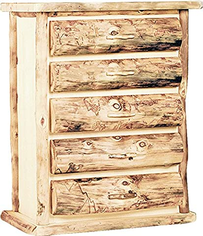 Mountain Woods Furniture Aspen Heirloom Collection 5 Drawer Chest, Wood Pull, Beeswax/Linseed Oil - Mountain Lodge 5 Drawer Chest