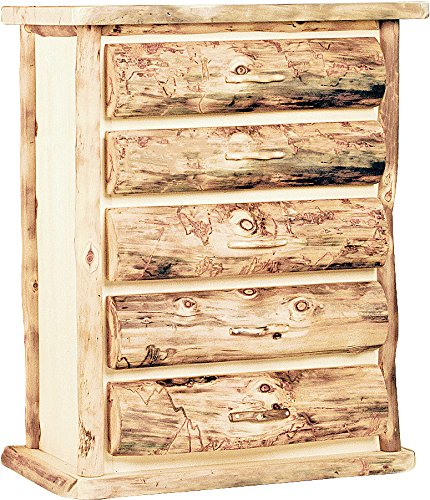Mountain Woods Furniture Aspen Heirloom Collection 5 Drawer Chest, Tooled Leather Pull, Bronze Aspen Finish (Aspen Log Chest)