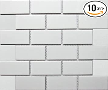 Amazon Com White Tile Ceramic Subway Brick Gloss Finish 2 X 4 Box Of 10 Sqft Wall Tile Backsplash Tile Bathroom Tile On 12x12 Mesh For Easy Installation Furniture Decor