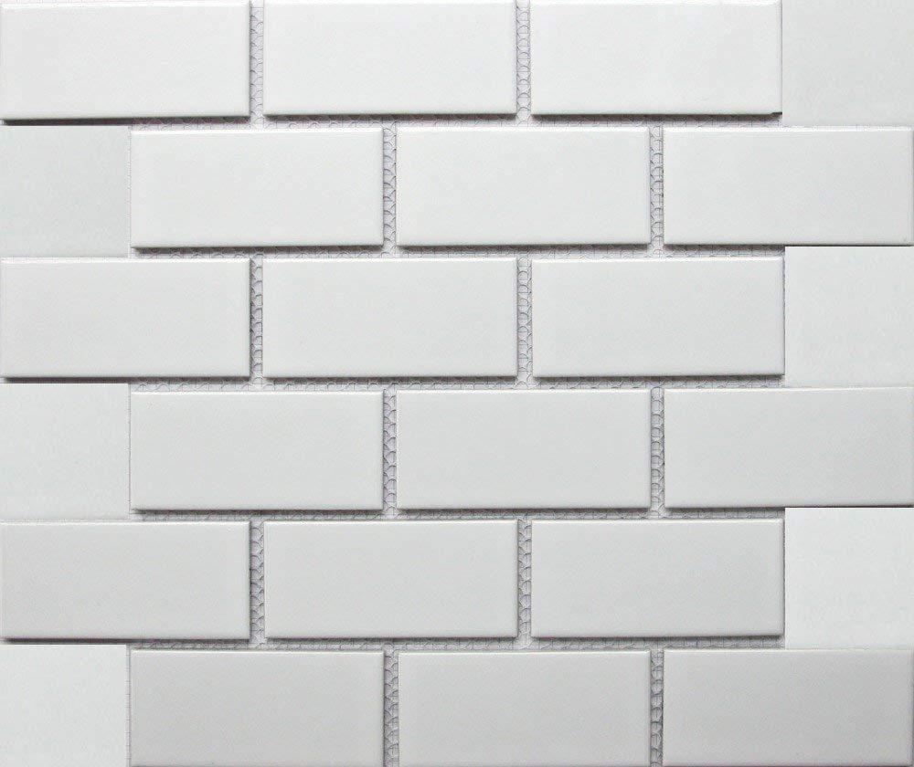 White Tile Ceramic Subway Brick Gloss Finish 2 X 4 Box Of 10 Sqft Wall Tile Backsplash Tile Bathroom Tile On 12x12 Mesh For Easy Installation Buy Online In Aruba At Aruba Desertcart Com