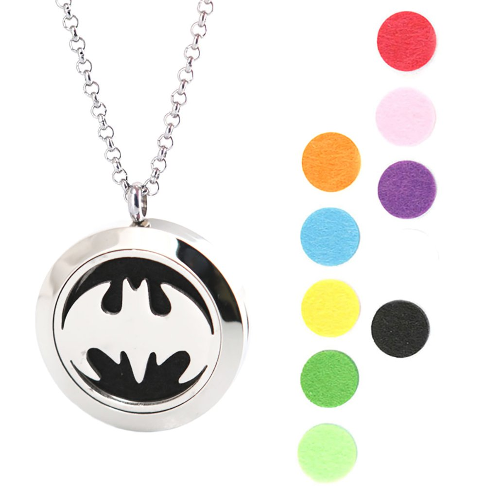 Bat 25mm Stainless Steel Premium Aromatherapy Essential Oil Diffuser Locket Necklace Pendant Amya DUB-006