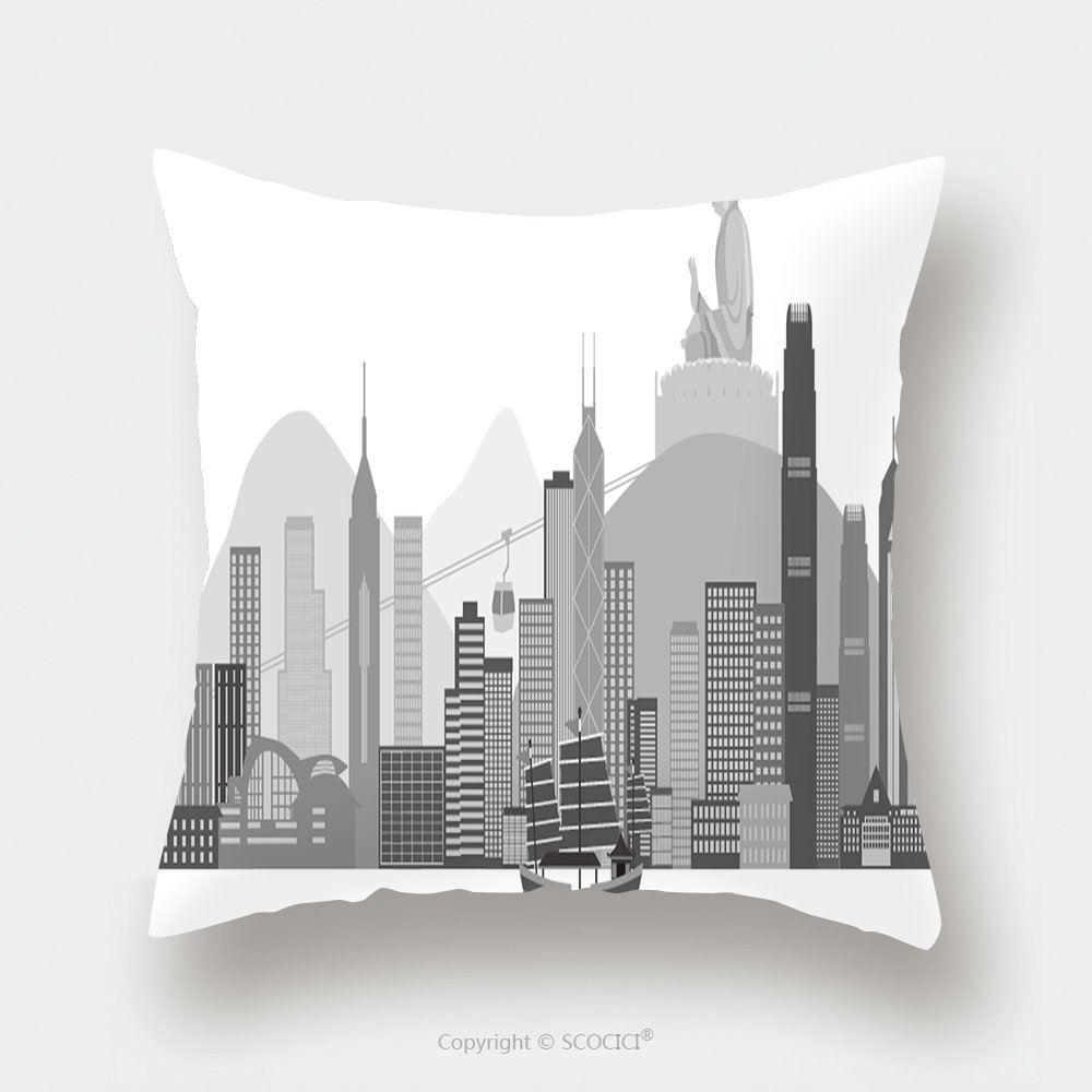 Custom Satin Pillowcase Protector Hong Kong Skyline With Junk Boat And Buddha Statue Vector Illustration Pillow Case Covers Decorative by chaoran
