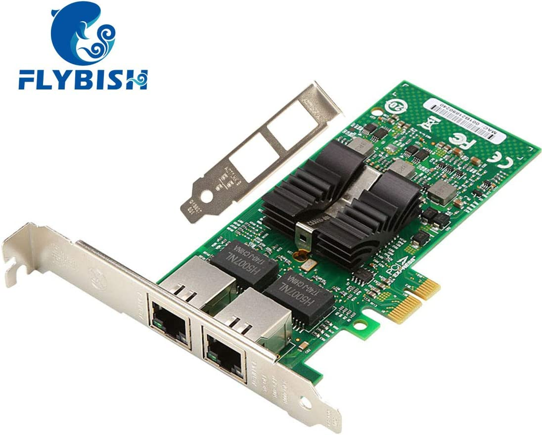 PCI Express 2.0 x4 NIC 82576 PCI-E x4 Dual RJ45 Copper Ports FLYBISH for Intel 82576 Chip 1G Gigabit Ethernet Converged Network Adapter Same as E1G42ET E1G42ET