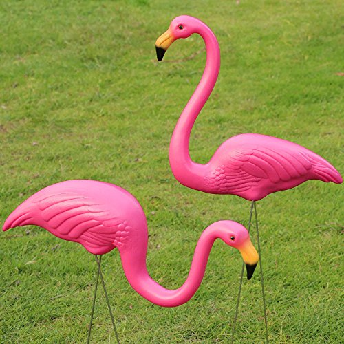 2PCS Plastic Pink Flamingo Lawn Figurine Garden Party Decor Ornament (Gargoyle Lawn Ornaments)