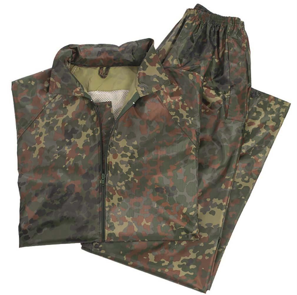Waterproof Rain Suit Rainproof Hooded Combat Fishing Set Flecktarn Camo Mil-Tec 10625021