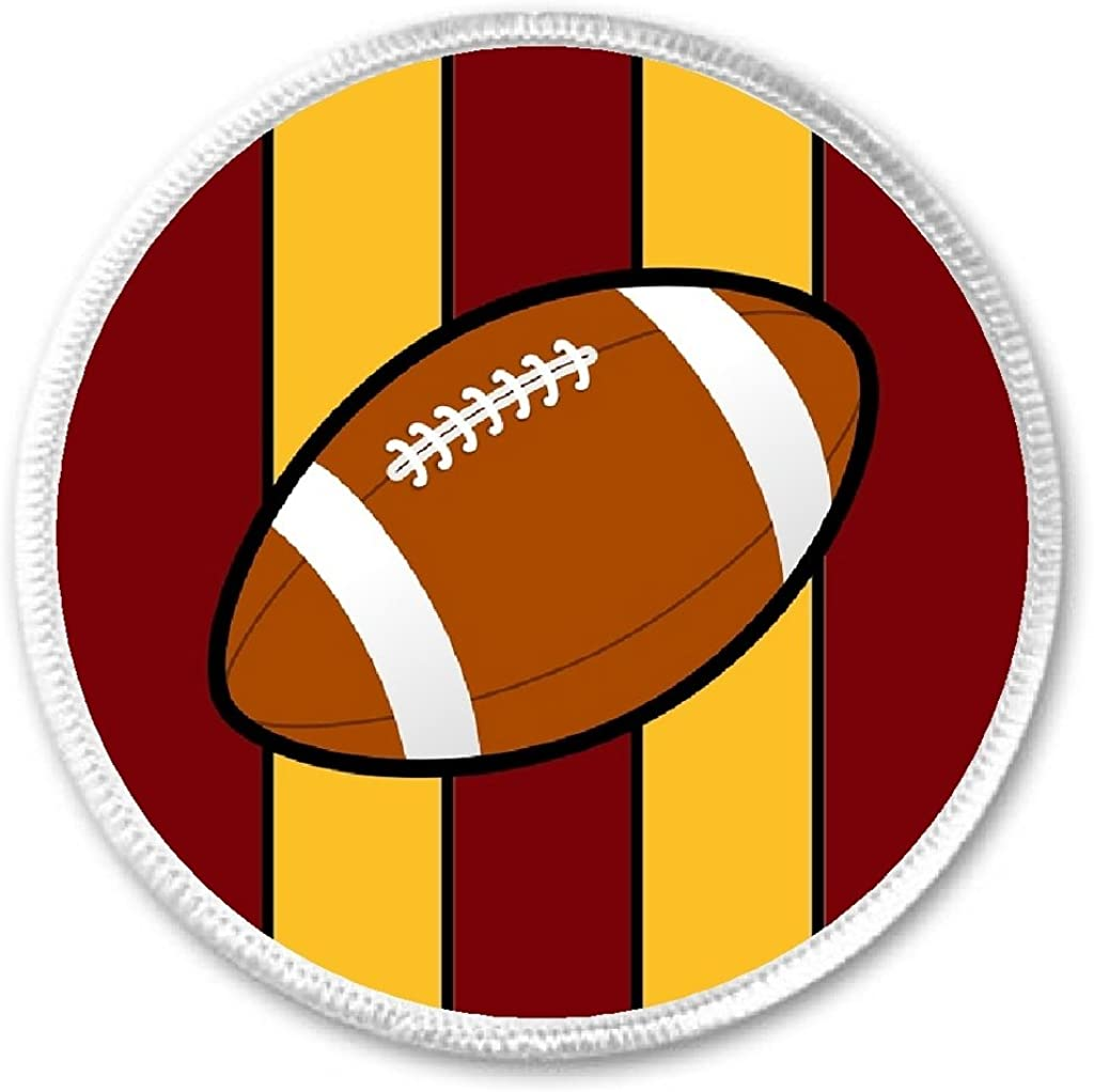 Football Burgundy /& Gold 3 Sew On Patch Team Pride Sport Support Cheer