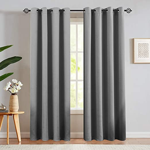 Amazon Com Gray Blackout Window Curtains For Living Room Bedroom Thermal Insulated Room Darkening Light Blocking Triple Weave Drapery Grommet Top 1 Pair 84 Inch Grey Kitchen Dining