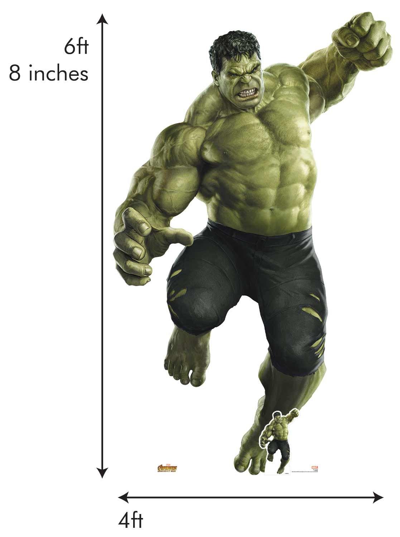Star découpes 122officiel Marvel personnage Carton Grandeur nature Hulk géant (Avengers: infinity War), Multicolore
