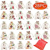 Elesa Miracle 28pcs Retro Flower Cotton Canvas Jewelry Pouch Bag, Drawstring Coin Purse, Gift Bag Value Set