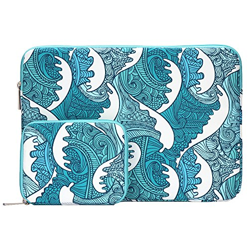 Wave Pattern Waterproof 15-15.6 Inch Laptop Sleeve Laptop Case for MacBook with Small Case for Charger, Mouse, Earphones