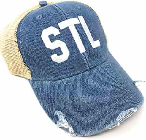 Custom Monogrammed STL Lambert St Louis International Airport Code  Distressed Denim Tricker Hat 8a0dd8509c1d
