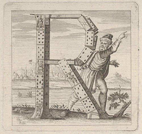 Historic Pictoric Fine Art Print | Anonymous, Italian, 18th Century | The Letter R, Constructed from a Court Pack of Playing Cards, Stands on a Riva (River Bank) | Vintage Wall Art | 24in x 24in ()