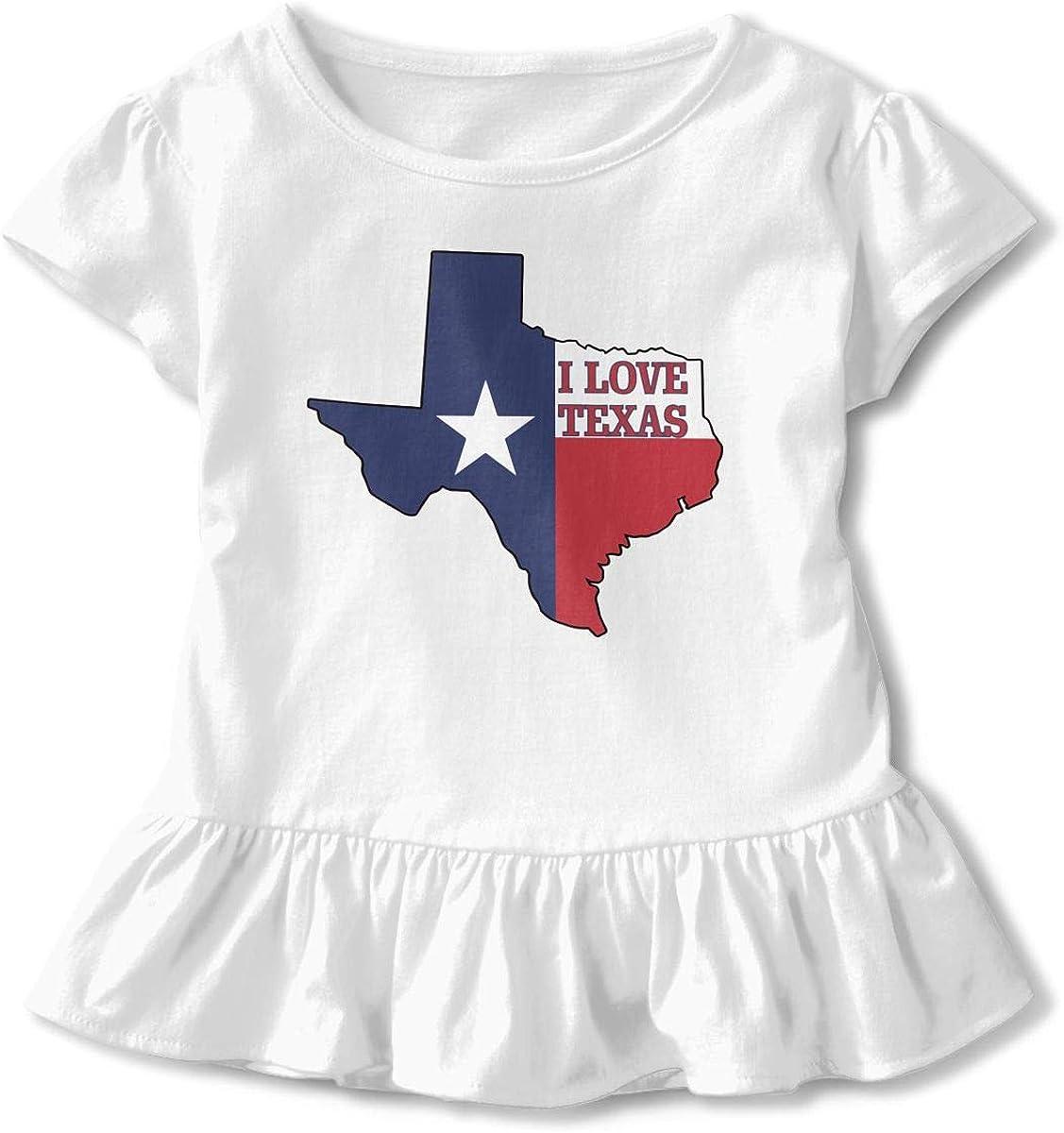 I Love Texas Texan Flag Newborn Baby Short Sleeve Crew Neck T-Shirt