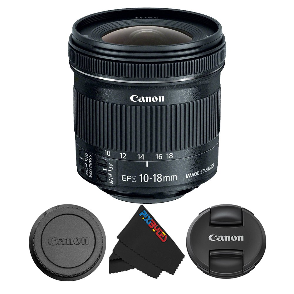 Canon EF-S 10-18mm f/4.5-5.6 is STM Lens for Canon DSLR Cameras + Pixibytes Microfiber Cleaning Cloth