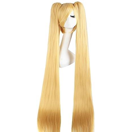 MapofBeauty 120cm/47 pulgada largo lacio en trenza seorita en trenza anime traje Pelucas (dorado)