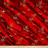 Chinese Brocade Sateen Bamboo Red Fabric By The Yard
