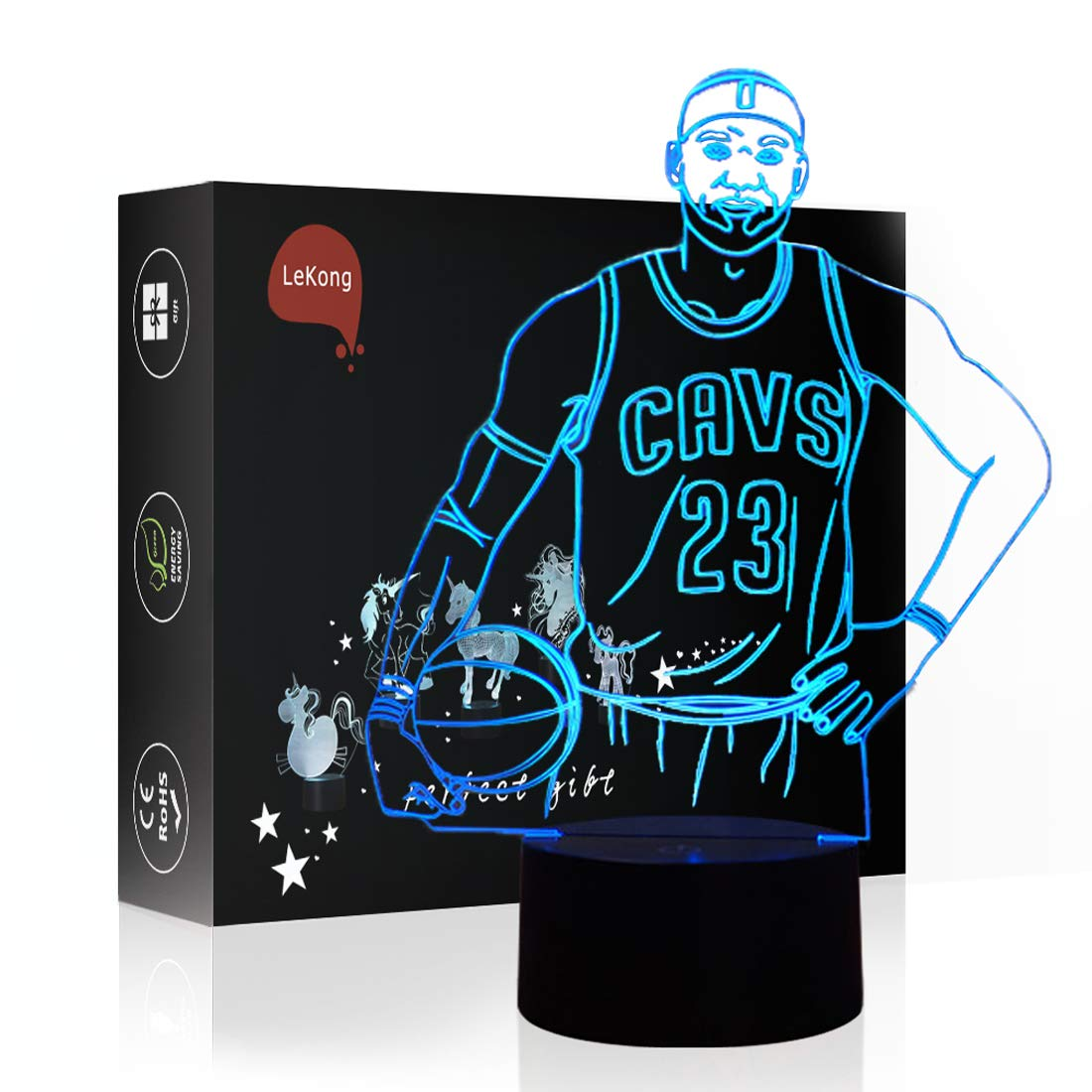 Basketball Toy LEDNightLampforKids3DIllusion,LeKong USBPlugin, TouchControl,GiftforThanksgiving &Friendship, FitforHomeDecorations