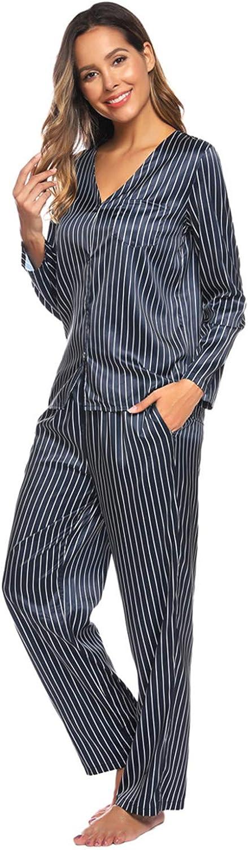Zexxxy Set Pigiama Stampato Donna Pigiama Raso/Top Pigiama Pantaloni Scollo a V