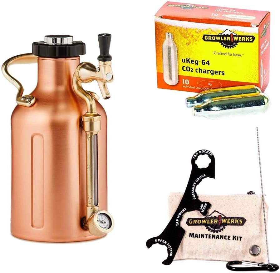 GrowlerWerks uKeg Carbonated Growler, 64 oz, Copper, Maintenance Cleaning Kit, 8g Box of 10 CO2 Chargers
