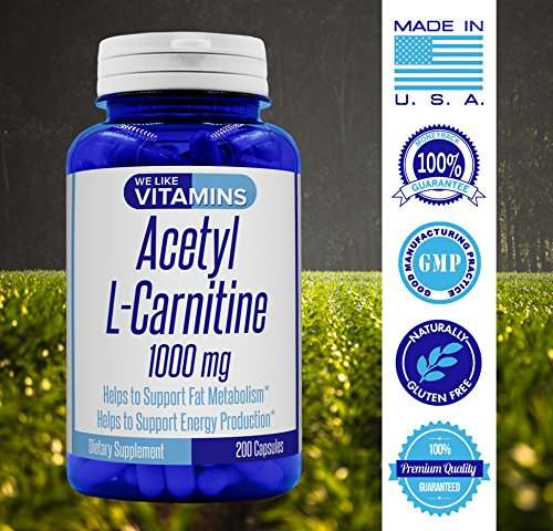 Acetyl L Carnitine 1000mg 200 Capsules 100 Day Supply Best Value Acetyl l carnitine supplement