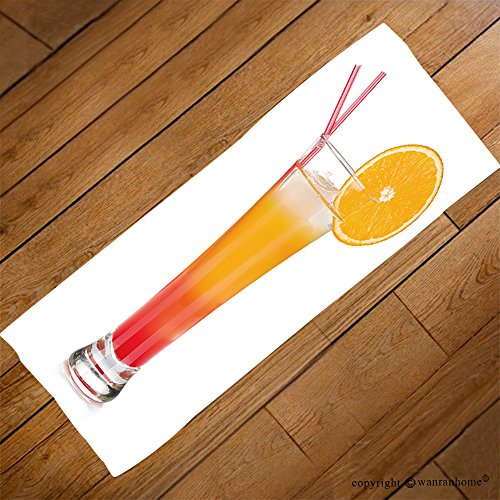 VROSELV Custom Towel Soft and Comfortable Beach Towel-tequila sunrise cocktail with ice isolated on white background Design Hand Towel Bath Towels For Home Outdoor Travel Use - Bar Copenhagen Tequila