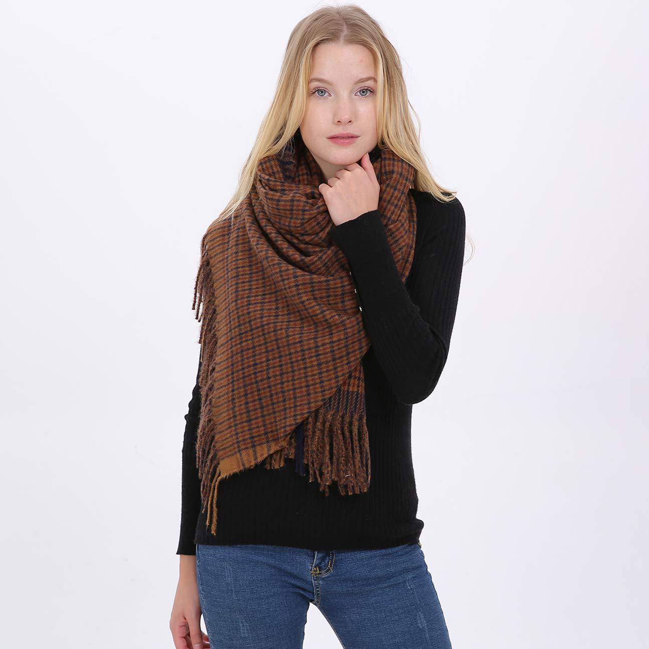 Longwu Ladies Gift Idea Cashmere Pashmina Sciarpa scozzese Moda calda lana Wrap Scialle invernale Stola per le donne