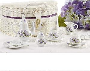 Delton Porcelain Tea Set in Basket, Purple Glory