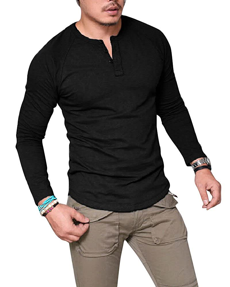 c117877b Huiyuzhi Men's V Neck Long Sleeve Button Muscle Tee Henley Thermal T-Shirt  Casual Tops Blouse at Amazon Men's Clothing store: