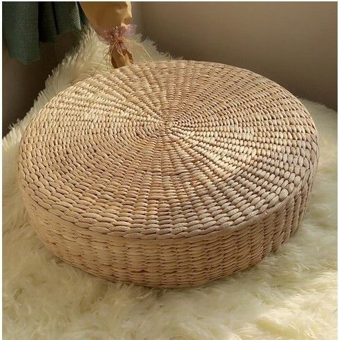 MAHAO Japanese Style Handcrafted Eco-Friendly Padded Knitted Straw Flat Seat Cushion,Hand Woven Tatami Floor Cushion Corn Maize Husk (Dia50cm/19.7'' x 10cm/4'') by MAHAO (Image #4)