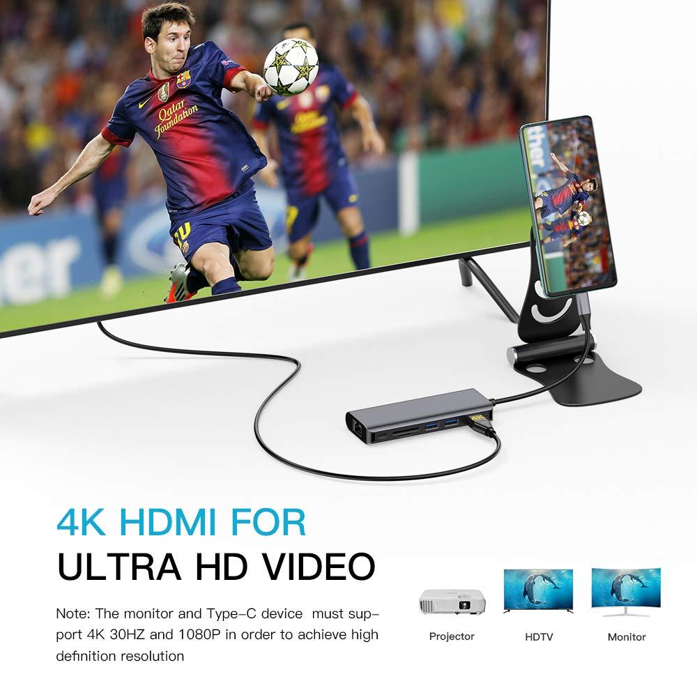 per MacBook PRO//Air Chromebook Samsung S10 Hotott USB C Hub Tipo C 7 in 1 Adattatore USB C con HDMI 4K 87W 1000M Ethernet USB C Porta di Alimentazione PD 1 Slot per schede SD//TF 2 Porte USB 3.0