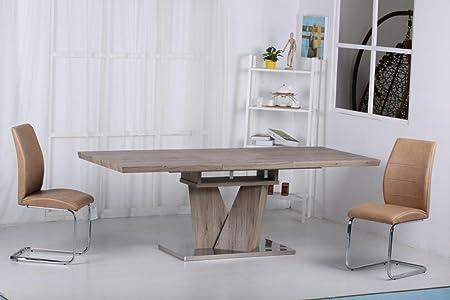 eLisa Mesa de Roble Extensible y 6 sillas de Piel sintética marrón ...