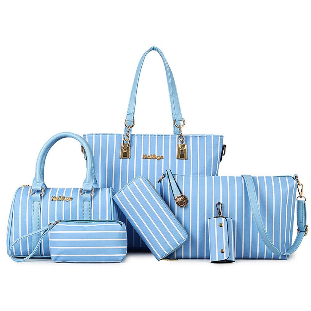 Fashion Women's Handbag+Shoulder Bag+Purse+Card Holder 5Pcs Tote Cross-Body Pouch Wallet PU Leather