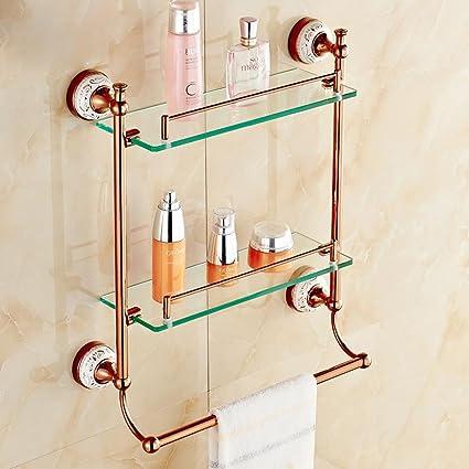 Amazon.com: SSBY Double glass shelf, bathroom shelves, rose gold ...