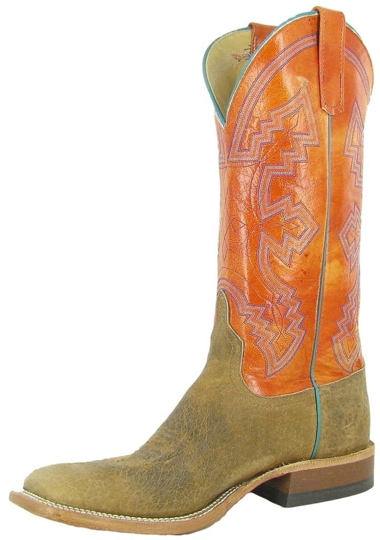 Anderson Bean Western Boots Mens Cowboy Buffalo Square Toe Brown S1112