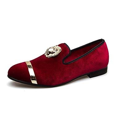Amazon Com Gold Top And Metal Toe Men Velvet Dress Shoes Italian