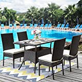Merax 5 Pieces Indoor Outdoor Dining Set PE Rattan Garden Dining Table and Chairs Patio Set Furniture For Sale