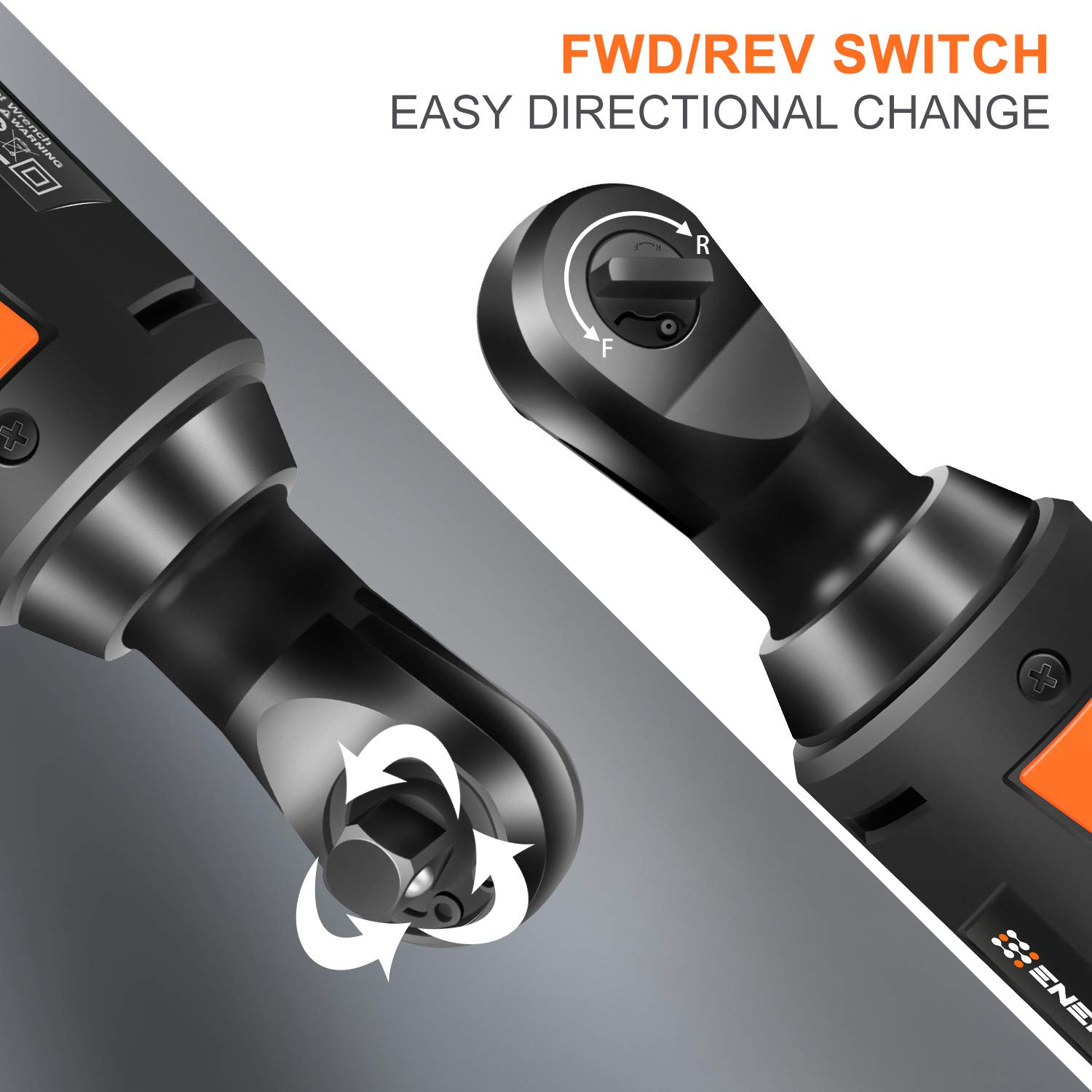 EnerTwist Cordless Electric Ratchet Wrench 3/8 Inch with 12V Lithium-ion Battery and Fast Charger Includes 7-Piece 3/8'' Metric Sockets Kit and 1/4'' Adaptor, ET-RW-12 by ENERTWIST (Image #4)