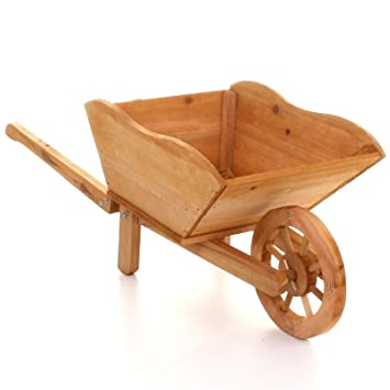Traditional Wooden Wheelbarrow Planter Garden Plants Flowers Outdoor