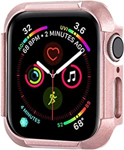Konafei Compatible with Apple Watch Case 40mm 44mm Series 6 5 4 SE, Matte Hard Bumper Silm Plastic Protective Cover Lightweight Ultra-Thin PC Guard Accessories for iwatch (Rose Gold, 40mm)