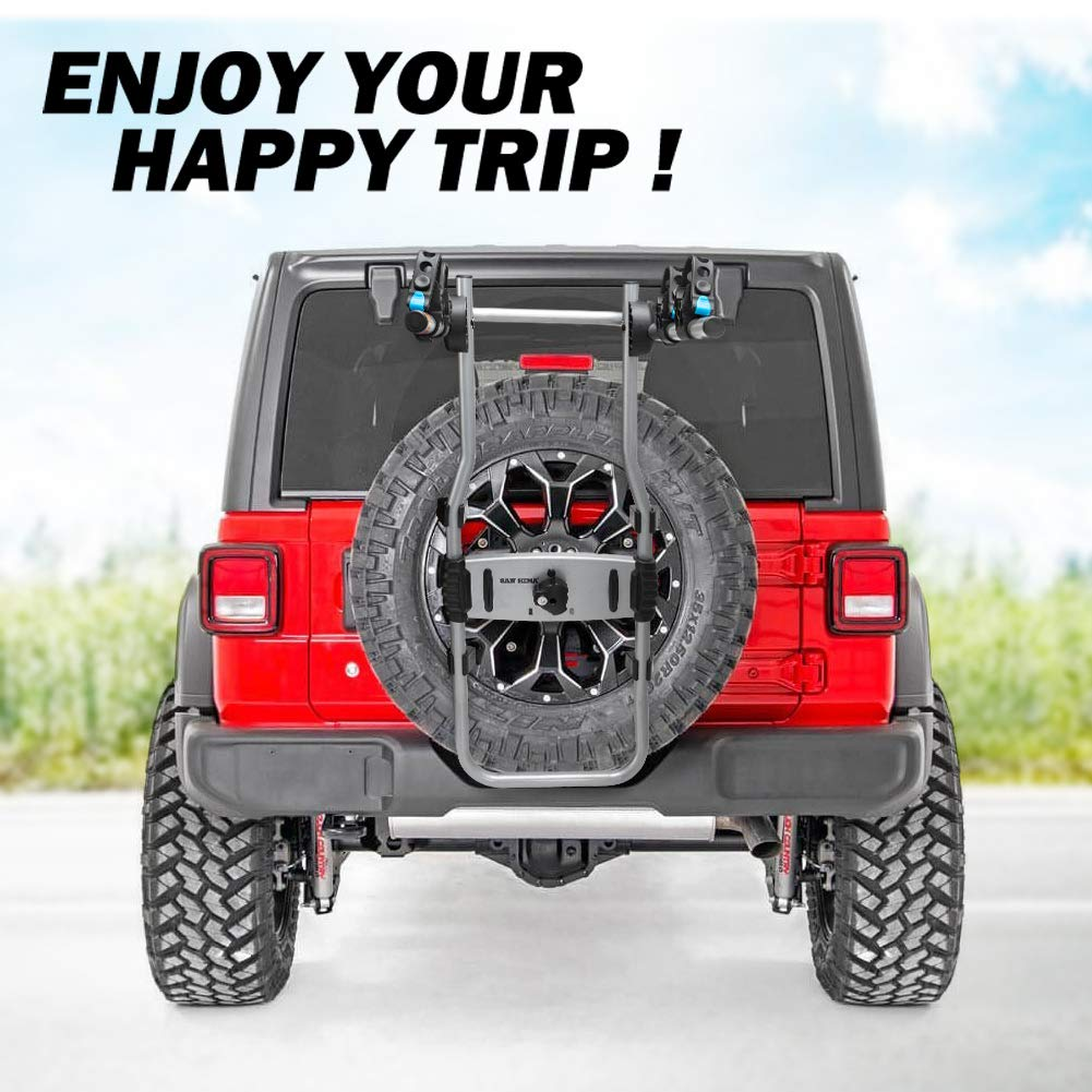 FIERYRED 2-Bike Spare Tire Rack 75 lb Capacity Spare Tire Bicycle Carrier Adjustable Bolt-On Spare Tire Rack 1 Year Warranty