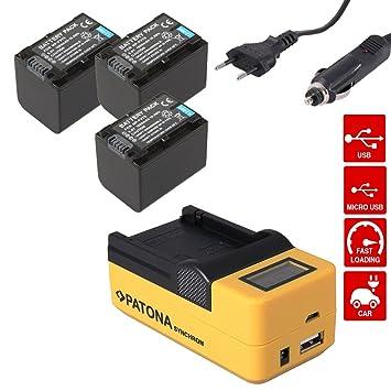 PATONA Synchron USB LCD Cargador rapido + 3x Bateria para ...