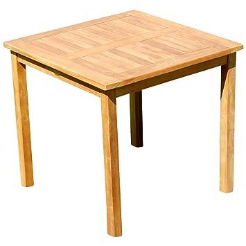 ASS Teak Holztisch Gartentisch Garten Tisch 80x80cm Gartenmöbel Holz Sehr  Robust Modell: JAV ALPEN80